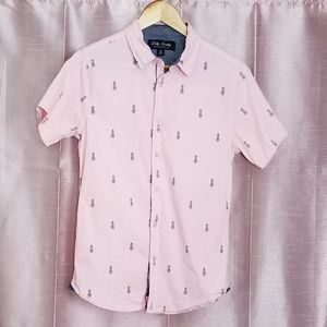 Dirty Laundry pink pineapple button down shirt M